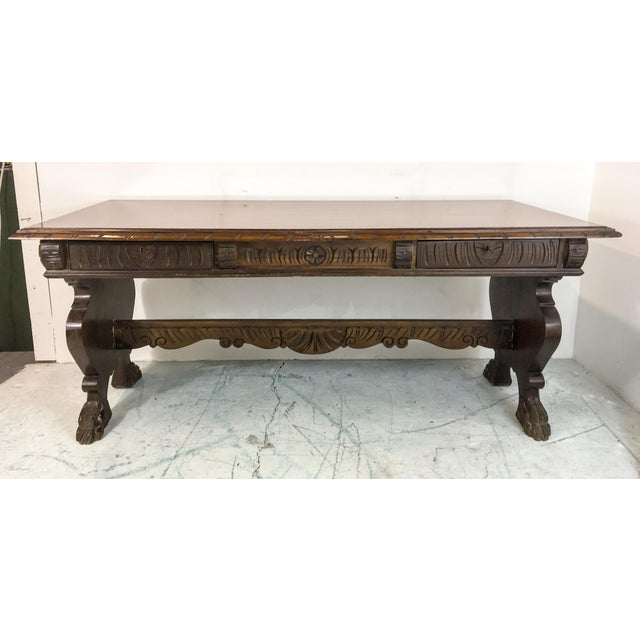 Image of 1920's Carved Walnut Library Table / Desk