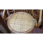 Image of Mid-Century Bent Wood Rattan Bamboo Bar Stools