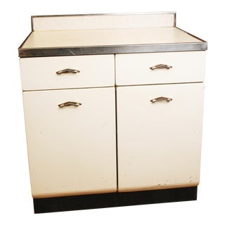 Mid Century White Metal Kitchen Cabinet