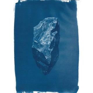 Digital Low-Poly Rock, Cyanotype Print on Watercolor Paper, A4 Size (Limited Edition)
