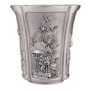 Antique Japanese Four Season Motif Pewter Vase in Metal Chinese