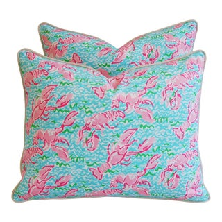 "22"" X 18"" Lilly Pulitzer-Inspired/Style Nautical Pink & Red Lobster Pillows - Pair"