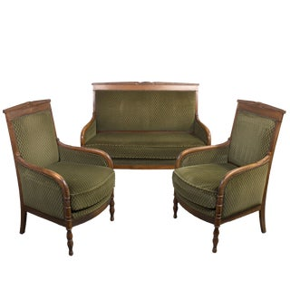 Vintage French Settee & Armchairs - Set of 3
