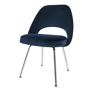 Saarinen Executive Armless Chair in Navy Velvet