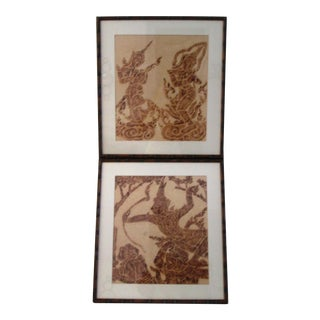 Mid-Century Thai Temple Rice Paper Rubbings - A Pair