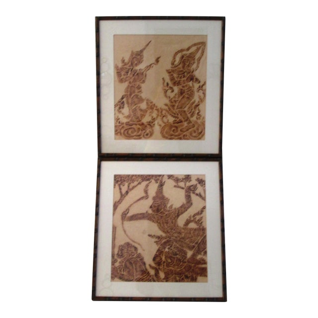 Mid-Century Thai Temple Rice Paper Rubbings - A Pair - Image 1 of 9