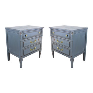 3-Drawer Gray Walnut Commodes - A Pair