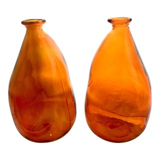 Large Organic Modern Shaped Orange Glass - A Pair