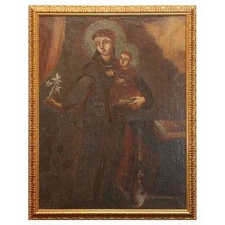 18th Century School of Cuzco Oil of Saint Anthony of Padua