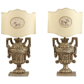 Italian Silver Gilt Lamps with Florentine Paper Shades