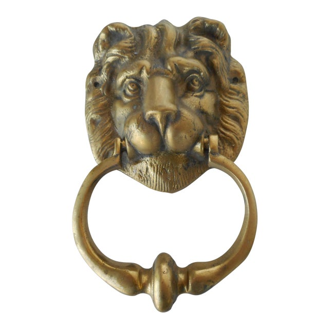 Vintage Brass Lion Head Door Knocker - Vintage Brass Lion Head Door Knocker Chairish