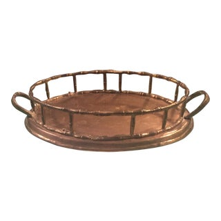 Vintage Brass Oval Bamboo Tray with Handles
