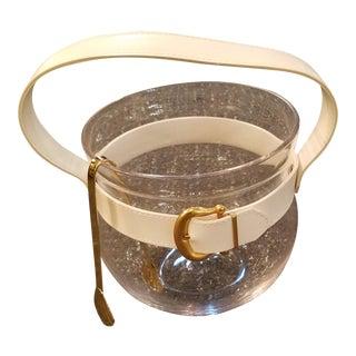 Mid Century Glass Ice Bucket With White Vinyl Strap & Gilt Buckle