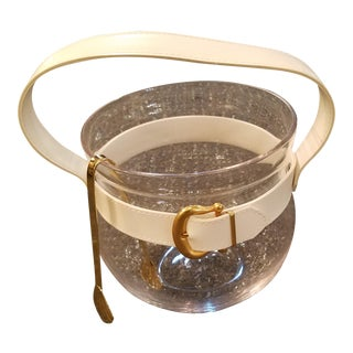 Mid Century Glass Ice Bucket With White Vinyl Strap & Gilt Buckle