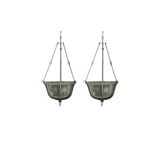 Pair of Antique French Glass & Metal Cloche Hall Lanterns