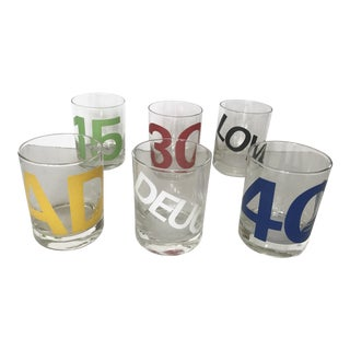 Vintage Set of 6 Tennis Score Rocks Glasses