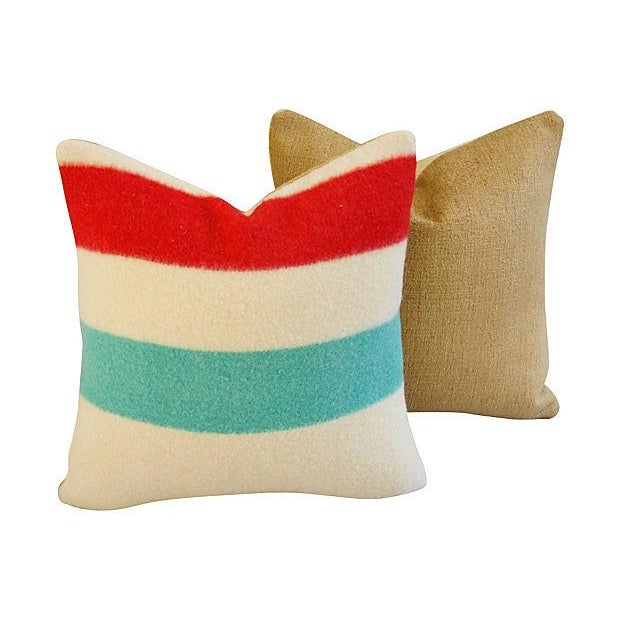 Authentic Hudson's Bay Blanket Pillows - a Pair - Image 6 of 7