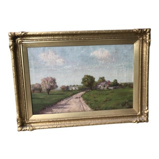 Framed 1915 Oil Country Landscape With Geese Signed Henry Hulsmann