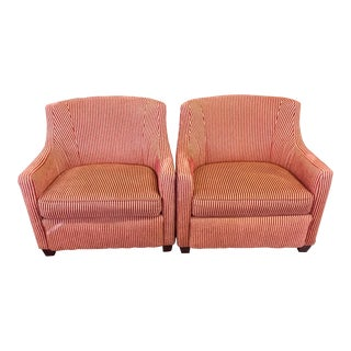 Red & Gold Wide Wale Corduroy Armchairs - A Pair