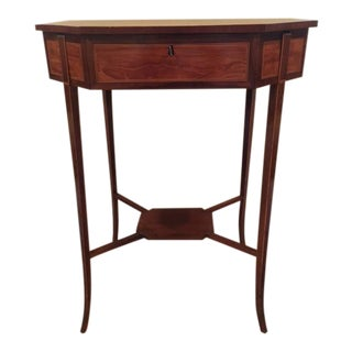 19th Century English Satinwood Inlaid Sewing Table