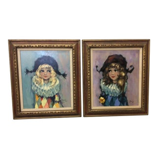Bendini Signed Harlequin Girls Oil on Canvas - A Pair
