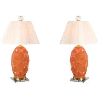 Dazzling Pair of Large-Scale Faceted Ceramic Lamps in Russet Orange