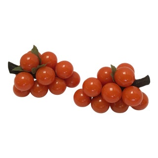 Mid-Century Orange Lucite Grapes - A Pair