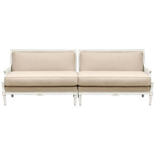 French Two-Piece Linen Sofa