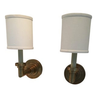 Hand-Rubbed Antique Brass Sconces - A Pair