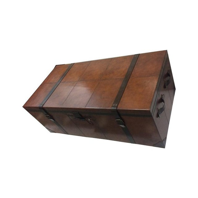 Rectangular Leather Manchester Storage Trunk Chest - Image 7 of 8