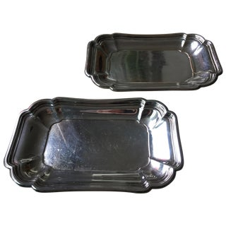 Vintage Hotel Silver Trays - Pair
