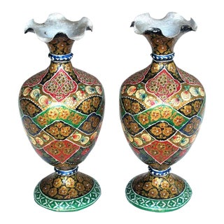 A Vibrant and Unusual Pair of Kashmiri Papier Mache Polychromed Urns