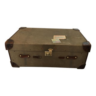 Leather & Khaki Military Trunk