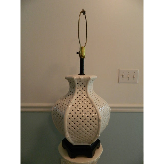 Vintage Nardini Blanc De Chine Pierced Lamp - Image 5 of 7