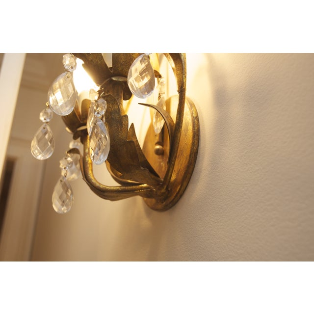 Crystal & Aged Brass Sconces - A Pair - Image 3 of 5