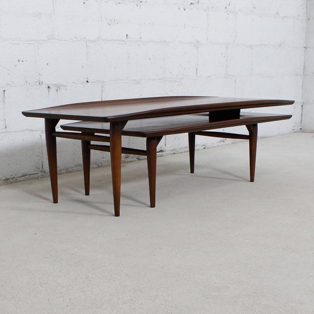 Mid Century Walnut Expandable 39 Switchblade 39 Coffee Table Chairish