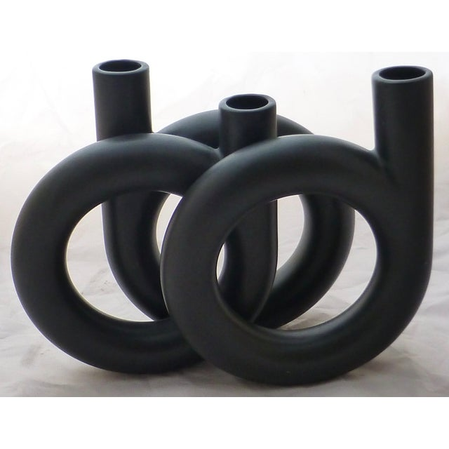 Vintage Black Triple Coil Ikebana Japanese Vase - Image 5 of 7