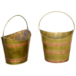 Brass Buckets with Copper Straps
