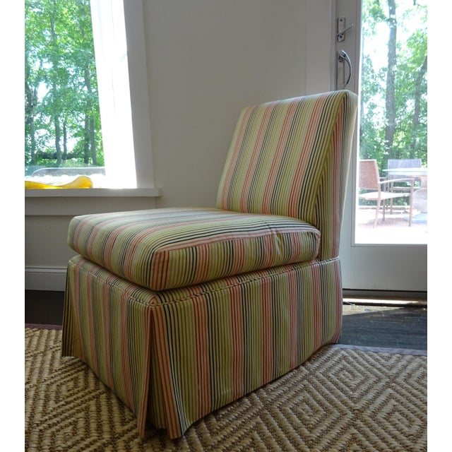 Stripped High Back Slipper Chair - Image 4 of 7