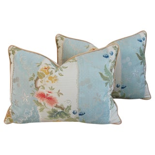 "26"" X 18"" Custom Scalamandre Silk Lampas Feather/Down Pillows - Pair"