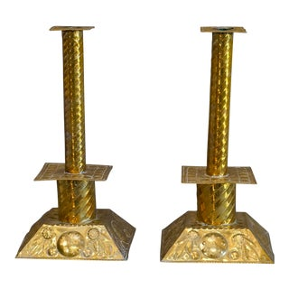 Pair of Brass Candlesticks (#51-26)