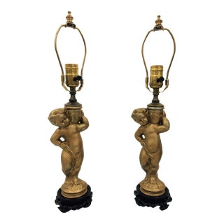 Vintage Cherub Putti Lamps - A Pair