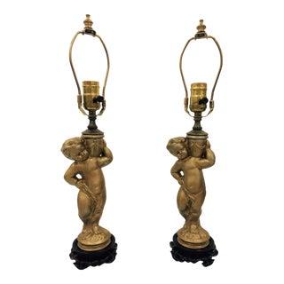 Vintage Cherub Putti Lamps - A Pair
