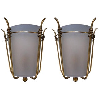 French Mid-Century Brass & Curved Glass Sconces - A Pair