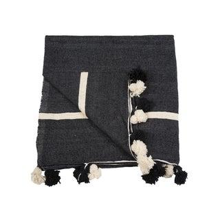 King Size Black Moroccan Pom Pom Blanket