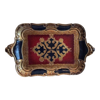 Italian Florentine Red & Black Tray