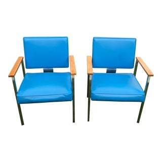 Pair of Super Groovy Electric Blue and Chrome Arm Chairs