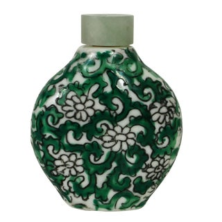 Porcelain Snuff Bottle W/Green Filigree Motif