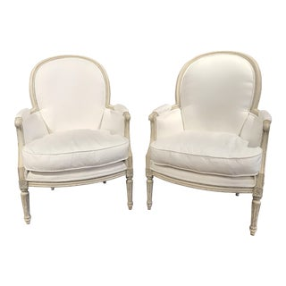 19th Century French Louis XVI Carved Painted Bergère Armchairs - A Pair