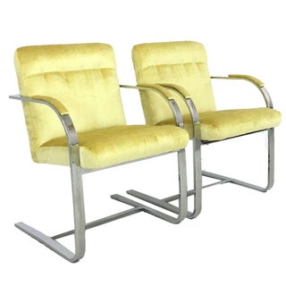 Mid-Century Modern Chrome Canary Velvet Chairs